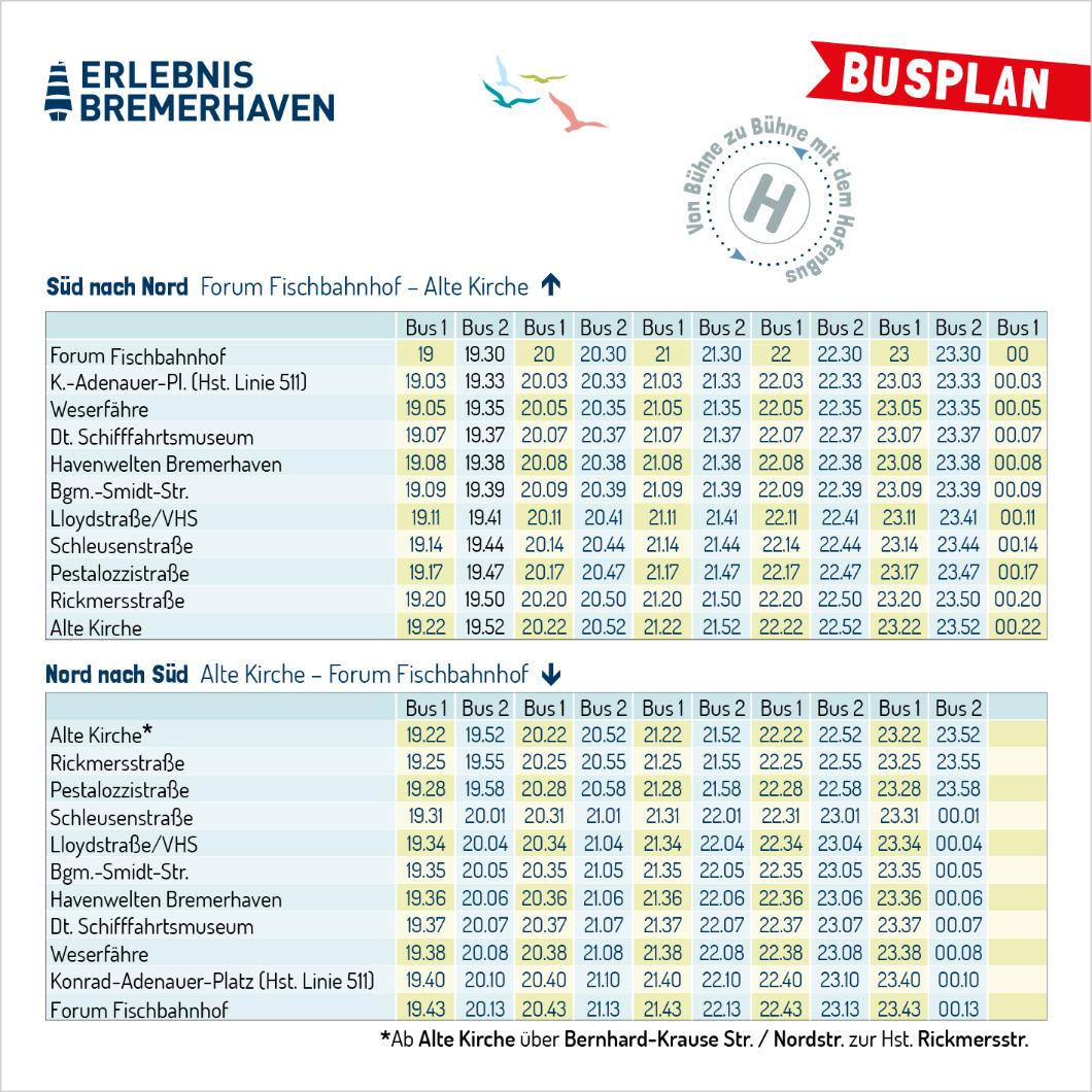 Busplan für die Lange Nacht der Kultur in Bremerhaven am 04-09-2021