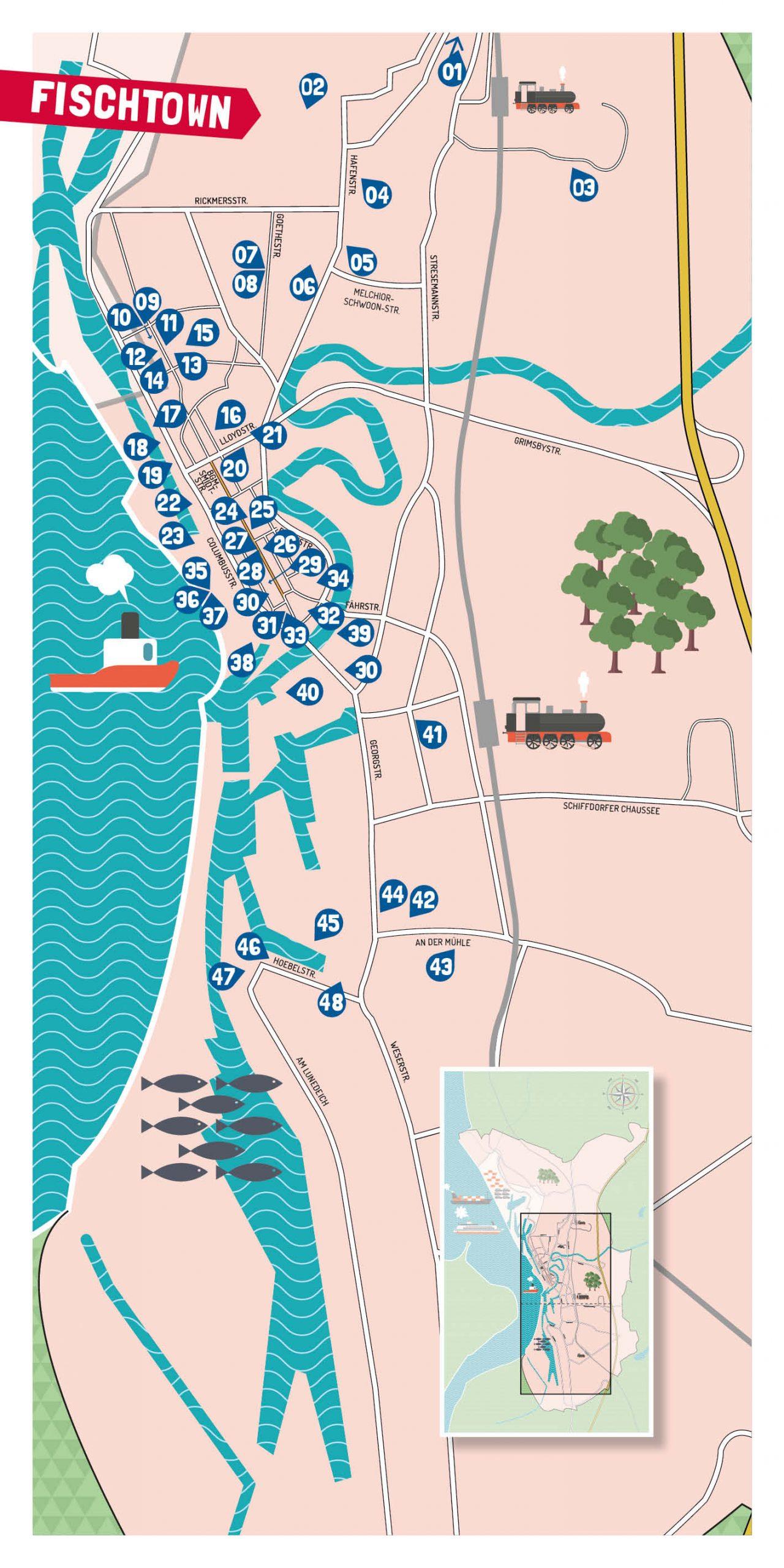 48 Bühnen der Langen Nacht der Kultur in Bremerhaven Spielorte auf einer Grafik dargestellt